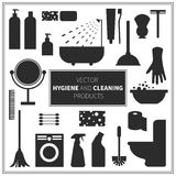 Vector hygiene and cleaning products icons Royalty Free Stock Photography