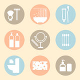 Vector hygiene products flat icons Stock Photography