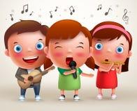 Vector i bambini del carattere che cantano e che giocano la chitarra e la flauto mentre stanno illustrazione vettoriale