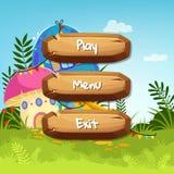 Vector i bottoni di legno di stile del fumetto con testo per progettazione del gioco sul fondo delle case del fungo di favola illustrazione di stock