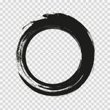 Vector i cerchi dei colpi della spazzola di pittura su fondo bianco Cerchio disegnato a mano del pennello dell'inchiostro Logo, e illustrazione di stock