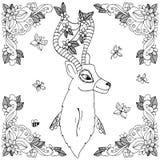 Vector i cervi di Zen Tangle dell'illustrazione nel telaio del fiore Disegno di scarabocchio Anti sforzo del libro da colorare pe royalty illustrazione gratis