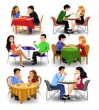 Vector i clipart delle coppie e colleghe che mangiano fuori e caffè bevente illustrazione vettoriale
