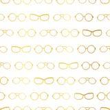 Vector i confini di orizzontale degli accessori di vetro dell'oro e di bianco Fotografia Stock Libera da Diritti
