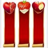 Vector i cuori della frutta e le insegne verticali dei nastri rossi messi Immagini Stock Libere da Diritti