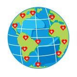 Vector i cuori rossi con l'incrocio sul globo della mappa per il giorno di salute Fotografia Stock