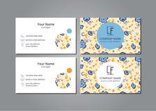 Vector i fiori blu della carta di visita sul campo grigio illustrazione vettoriale