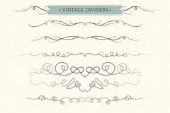 Vector i flourishes disegnati a mano, i divisori, EL adorabile grafico di progettazione Fotografia Stock