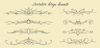 Vector i flourishes disegnati a mano, i divisori, EL adorabile grafico di progettazione Fotografie Stock