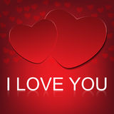 Vector i love you on abstract hearts background Stock Image