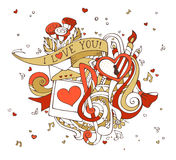 Vector I Love You doodles illustration. Stock Photos
