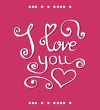 Vector I love you Lettering design for Happy Valentines Day Stock Photos