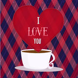Vector I Love You Poster with heart and coffee cup Royalty Free Stock Photo