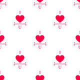 Vector i love you seamless pattern with heart and arrows in modern hipster design. Love and romance design element Stock Photo