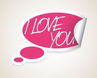 Vector I Love You speech bubble Royalty Free Stock Photos