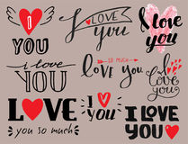 Vector I love You text overlays hand drawn lettering collection inspirational lover quote illustration. Royalty Free Stock Photos