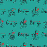 Vector I love You text seamless pattern hand drawn lettering collection inspirational lover quote illustration. Royalty Free Stock Photos