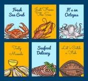 Vector i modelli dell'aletta di filatoio o della carta con frutti di mare disegnati a mano colorati illustrazione vettoriale