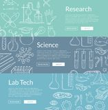 Vector i modelli dell'insegna di web con gli elementi disegnati a mano di scienza illustrazione vettoriale
