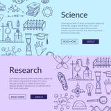 Vector i modelli dell'insegna di web con gli elementi disegnati a mano di scienza illustrazione di stock