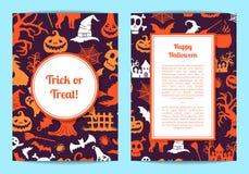 Vector i modelli della carta o dell'aletta di filatoio di Halloween con le strutture royalty illustrazione gratis