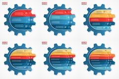 Vector i modelli infographic del cerchio di stile dell'ingranaggio dell'industria e di affari messi Fotografia Stock