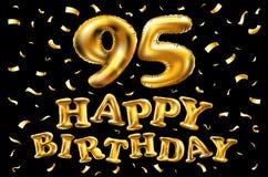 Vector i novantacinquesimi palloni dell'oro della celebrazione di buon compleanno e gli scintilli dorati dei coriandoli progettaz Immagine Stock