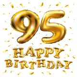 Vector i novantacinquesimi palloni dell'oro della celebrazione di buon compleanno e gli scintilli dorati dei coriandoli progettaz Fotografia Stock
