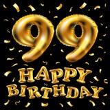 Vector i novantanovesimi palloni dell'oro della celebrazione di buon compleanno e gli scintilli dorati dei coriandoli progettazio Immagini Stock Libere da Diritti