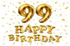 Vector i novantanovesimi palloni dell'oro della celebrazione di buon compleanno e gli scintilli dorati dei coriandoli progettazio Immagini Stock