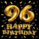 Vector i novantaseesimi palloni dell'oro della celebrazione di buon compleanno e gli scintilli dorati dei coriandoli progettazion Immagine Stock