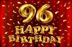 Vector i novantaseesimi palloni dell'oro della celebrazione di buon compleanno e gli scintilli dorati dei coriandoli progettazion Fotografie Stock Libere da Diritti