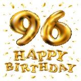 Vector i novantaseesimi palloni dell'oro della celebrazione di buon compleanno e gli scintilli dorati dei coriandoli progettazion Immagini Stock Libere da Diritti