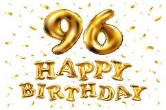 Vector i novantaseesimi palloni dell'oro della celebrazione di buon compleanno e gli scintilli dorati dei coriandoli progettazion Fotografia Stock
