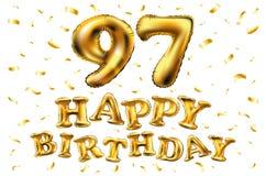 Vector i novantasettesimi palloni dell'oro della celebrazione di buon compleanno e gli scintilli dorati dei coriandoli progettazi Fotografia Stock Libera da Diritti