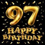 Vector i novantasettesimi palloni dell'oro della celebrazione di buon compleanno e gli scintilli dorati dei coriandoli progettazi Fotografia Stock