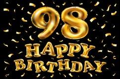 Vector i novantottesimi palloni dell'oro della celebrazione di buon compleanno e gli scintilli dorati dei coriandoli progettazion Fotografia Stock Libera da Diritti