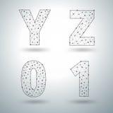 Vector i numeri alla moda Y la Z 0 1 delle lettere dell'alfabeto della maglia Immagini Stock