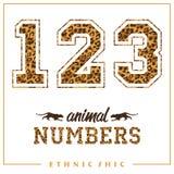 Vector i numeri animali per le magliette, i manifesti, la carta ed altra usi Fotografie Stock Libere da Diritti
