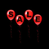 Vector i palloni rossi con la parola di vendita su fondo nero Fotografia Stock Libera da Diritti
