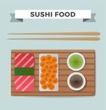 Vector i sushi ed i rotoli messi isolati su bianco Immagine Stock