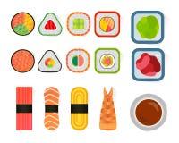 Vector i sushi ed i rotoli messi isolati su fondo bianco Fotografie Stock