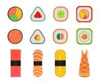 Vector i sushi ed i rotoli messi isolati su fondo bianco Immagini Stock