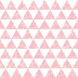 Vector i triangoli di rosa di color salmone ed il fondo senza cuciture del modello di ripetizione di struttura delle foglie Perfe Fotografie Stock