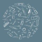 Vector i vari accessori dell'illustrazione per la cura della vostra domanda biologica di ossigeno illustrazione vettoriale