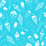 Vector ice cream background. Doodle ice cream pattern with cone, scoop, chocolate, sundae and cup. Hand drawn summer illustration Stock Image