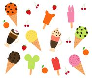 Vector of Ice cream and Coffee. With fruit Stock Photos