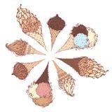 Vector ice-cream cones. Stock Images