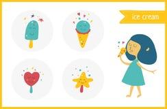 Vector ice-cream kawaii set with smiles. Happiness girl eat ice- Stock Image