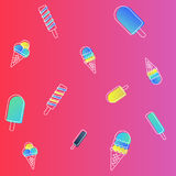 Vector ice cream pattern. colorful cartoon background with fruit and chocolate popsicles. Paper wrapping design Stock Photos